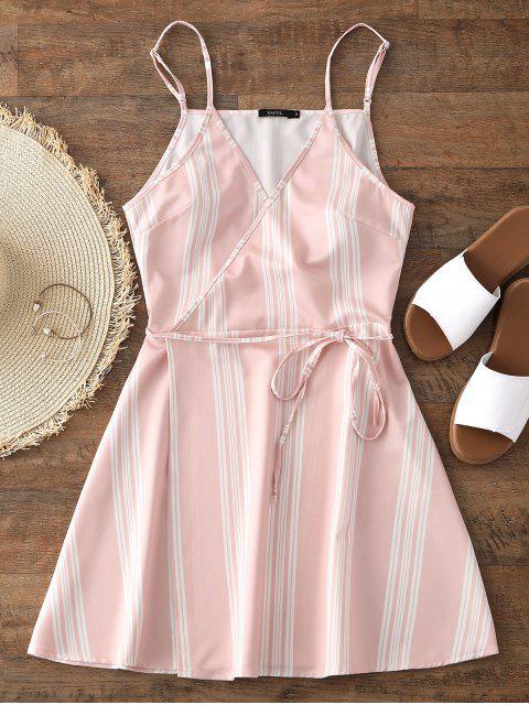 Slip Stripes Wrap Mini Dress - Rosado L Mobile