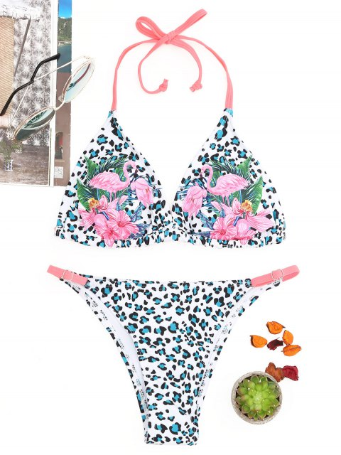 Flamingo Print Leopard String Bikini Set - COLORMIX  S Mobile