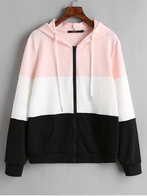 Sudadera con capucha y bloque de color con cremallera y cordón - Negro S Mobile