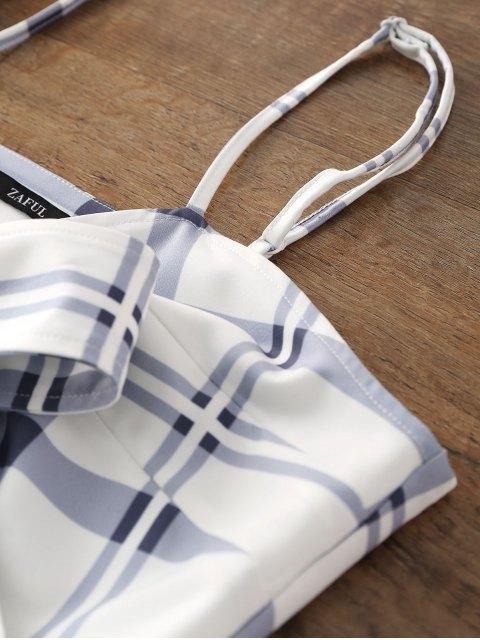 Minivestido a cuadros con lazo Bowknot - Blanco XL Mobile