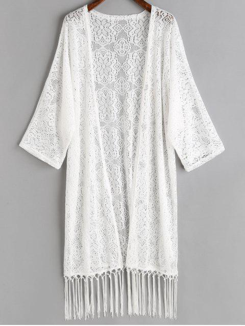 unique Tassels Crochet Kimono Cover Up - WHITE ONE SIZE Mobile