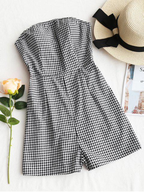 affordable Tied Back Strapless Plaid Romper - CHECKED XL Mobile