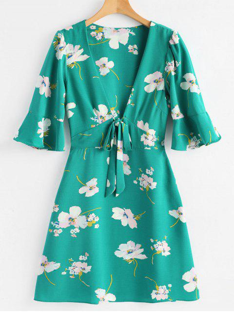 Robe Florale à Col Plongeant à Manches évasées - Vert Mer M Mobile
