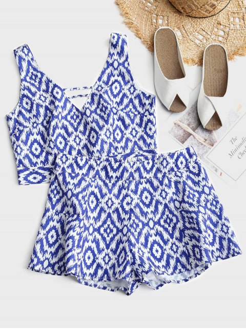 womens Cropped Printed Tied Top and High Waisted Shorts Set - WHITE L Mobile