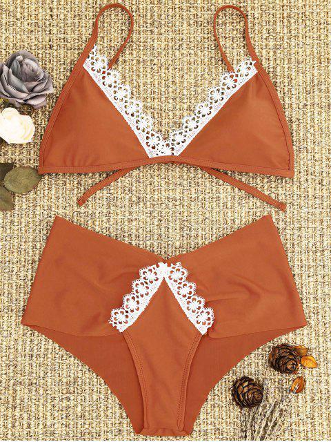 Spitze Gepolsterter Bikini-Set - Roter Zirkon L Mobile
