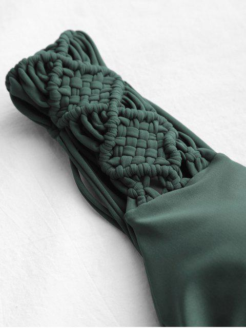 Conjunto de bikini de corte alto con lazo Macrame - Guisante Verde S Mobile