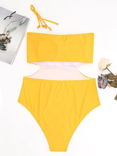 Maiô Perna Alta Tomara-que-Caia Plus Size com Recorte - Amarelo Gengibre 4XL Mobile
