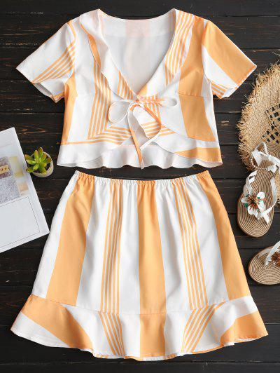 Striped Ruffles Crop Top And Skirt Set - Orange S