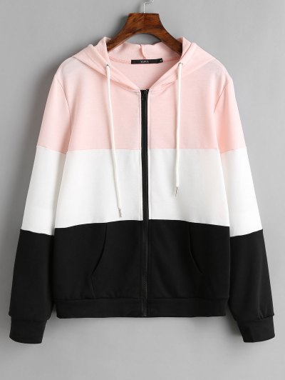 Zaful Drawstring Zip Up Color Block Hoodie