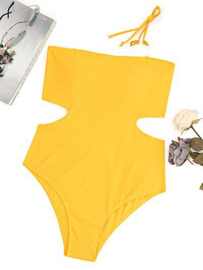 Plus Size Cut Out Bandeau High Leg Swimsuit - Ginger 2xl