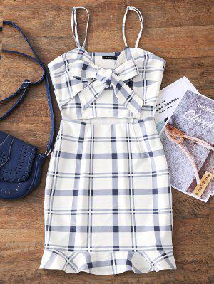 Cut Out Bowknot Plaid Mini Dress - White M