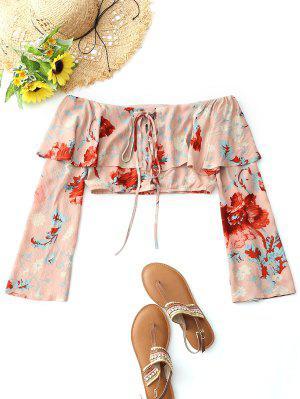 Top recortado floral con cordones y hombros descubiertos