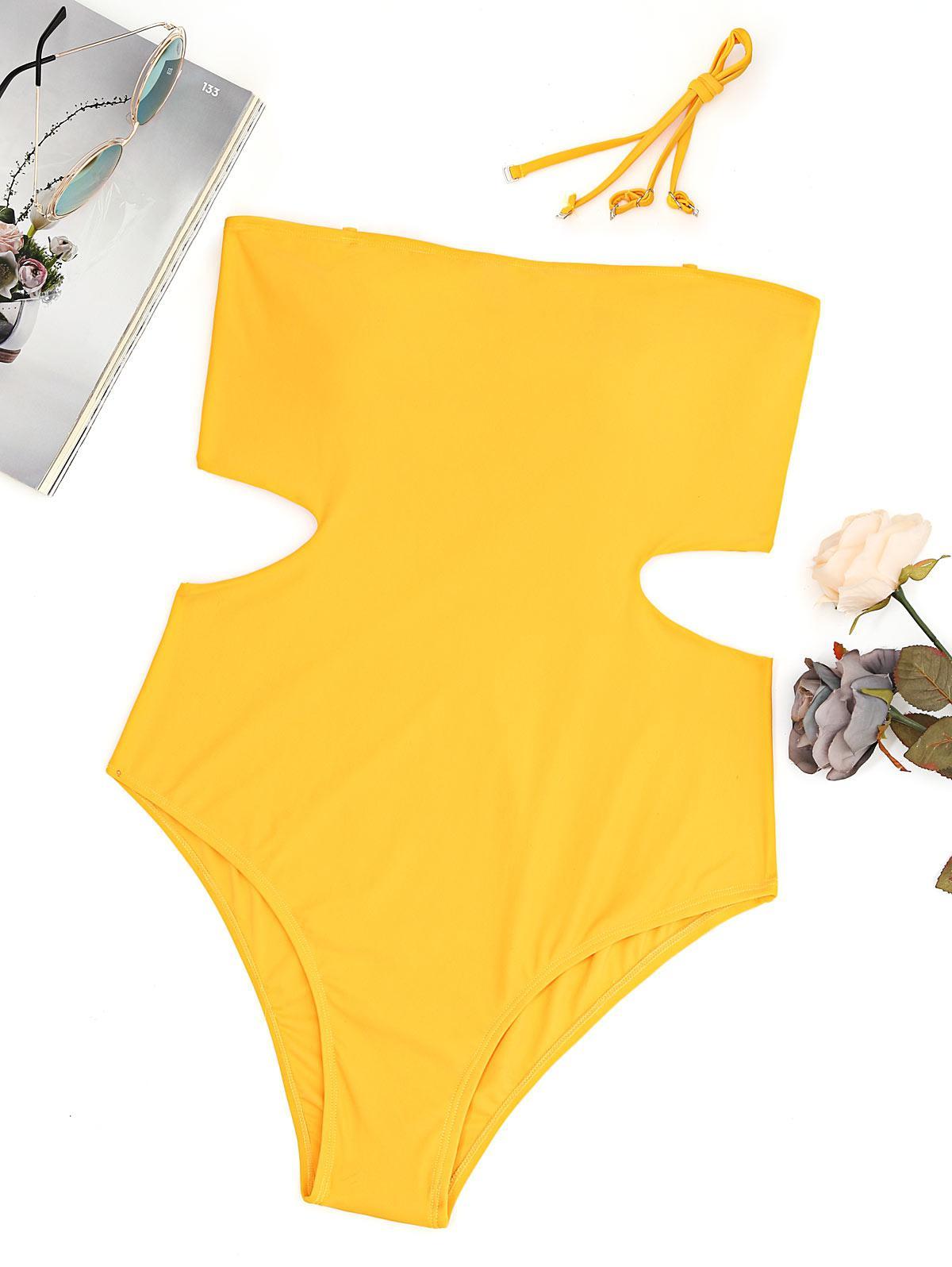 Plus Size Cut Out Bandeau High Leg Swimsuit