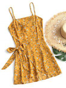 Firstgrabber Tiered Bowknot Cut Out Mini Dress - Mustard S