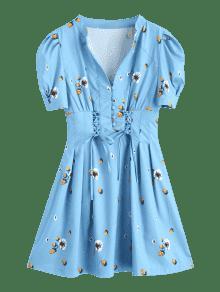 Cordones Con Floral Xl Lago Azul Vestido Medio Encaje Mini Y PaaAEwq