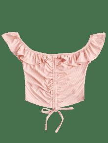 De Con Claro M Pliegues Camiseta Cultivo Ruffles Shoulder Rosado Off XwFqatn
