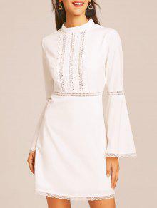كم فستان الدانتيل تريم مضيئة - أبيض M