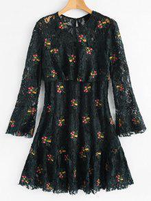 فستان دانتيل طباعة الأزهار كشكش توهج الأكمام - مسود الخضراء M