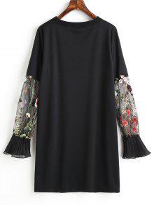 Manga Malla Casual Vestido De Negro Floral De S Bordado HwHIPqY