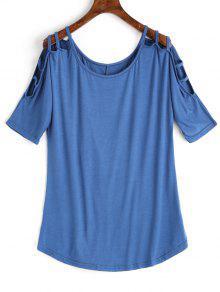 Scoop Ladder Cut T-shirt - Azul M
