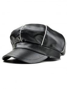 شريط نمط مزين فو الجلود رسام قبعة - أسود