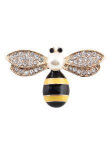 لطيف فو اللؤلؤ حجر الراين النحل بروش - ذهبي