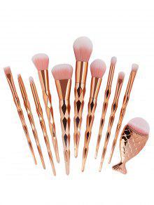 Zaful 11pcs Ultra Macio Jogo De Escova De Maquiagem De Cabelo De Fibra Sintética - Rosa Dourado