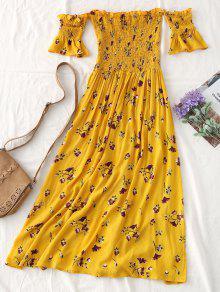 M Media Con Amarillo Fruncido Abertura Hombros Pierna Con Y Floral Descubiertos A Vestido AqTgw4x