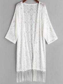 لباس التغطية كيمونو محبوط مطرز بالشرابة - أبيض