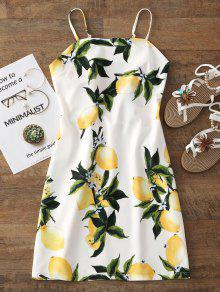 فستان مصغر ذو فتحات طباعة اللليمون - أبيض S