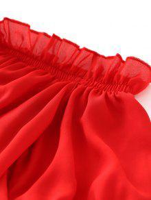 Rojo Volantes Recortadas Blusa S De Hombro wxxYq1UI