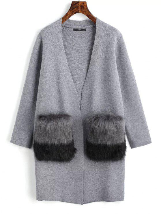 trendy Faux Fur Pockets Open Front Cardigan - GRAY ONE SIZE
