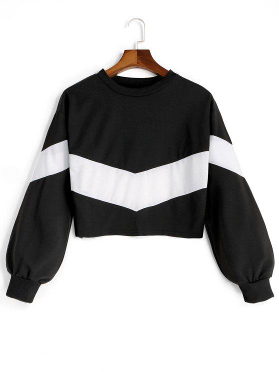 fancy Drop Shoulder Contrast Cropped Sweatshirt - WHITE AND BLACK M