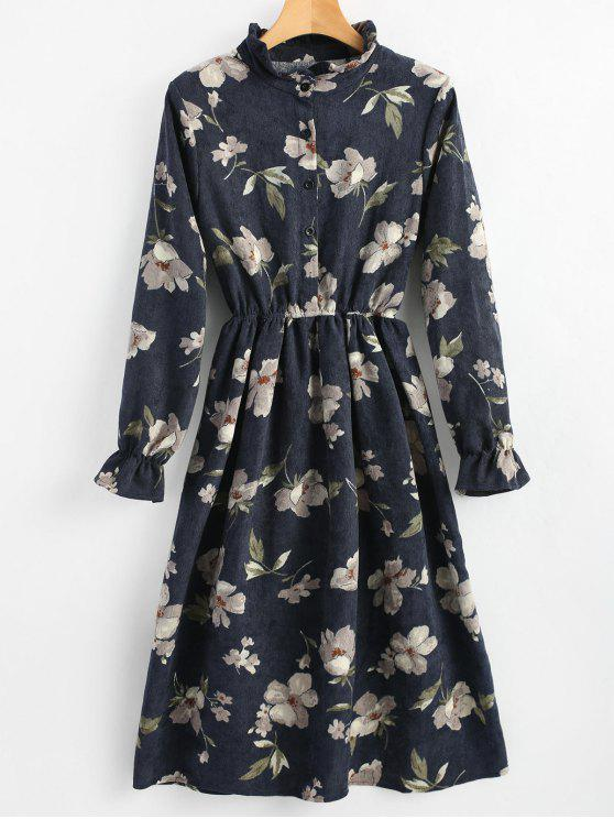 latest Ruffle Neck Floral A Line Corduroy Dress - CERULEAN M