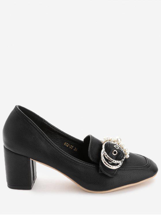 حذاء مزين باللؤلؤ المزيف مستدير من الأمام وكعب عريض - أسود 35
