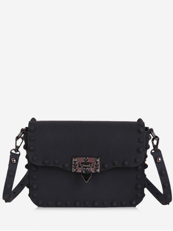fancy Metal Studs Flap Crossbody Bag - BLACK