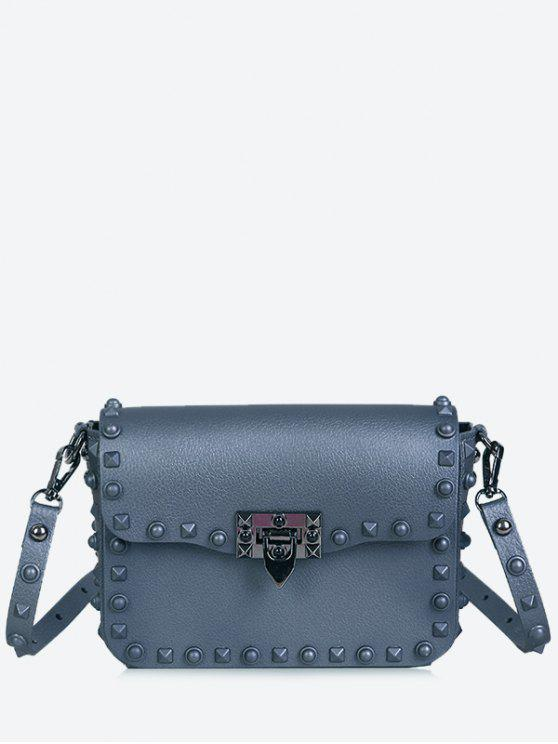 Metal Studs Flap Crossbody Bag - Cinza Azul