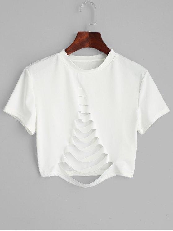 Super 39% OFF] 2018 Short Sleeve Ripped T-shirt In WHITE M | ZAFUL &BI85