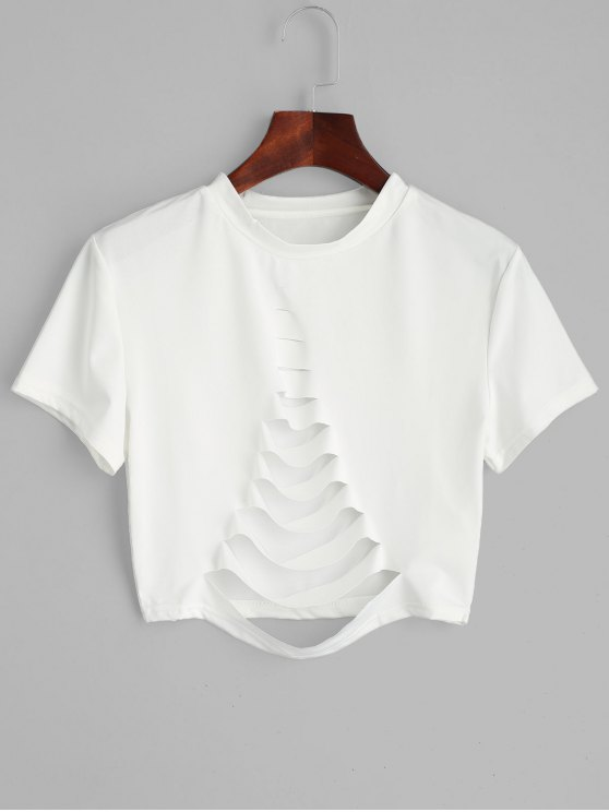 70803754889105 25% OFF  2019 Short Sleeve Ripped T-shirt In WHITE