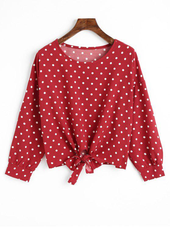 shops Bowknot Hem Polka Dot Blouse - DEEP RED S