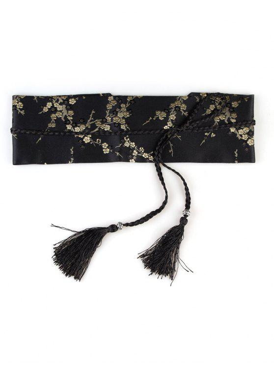 online Floral Embroidery Embellished Banded Corset Belt - YELLOW AND BLACK