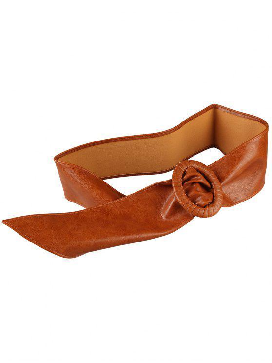 حزام خصر عريض بتصميم فريد - شوكولاتة