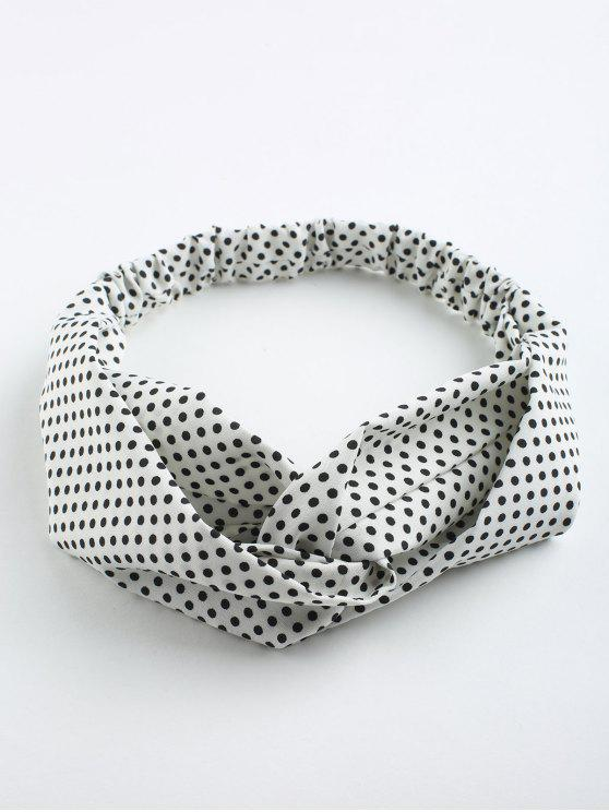 lady Polka Dot Cute Elastic Hair Band - WHITE