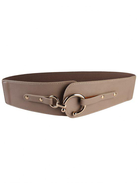 latest Metal Round Buckle Faux Leather Wide Waist Belt - DARK KHAKI