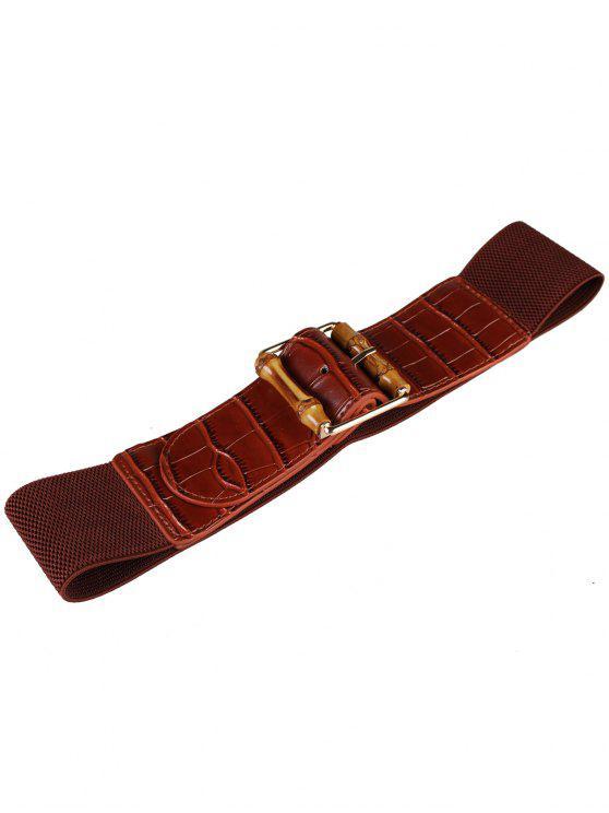 latest Wood Buckle Embellished Elastic Crocodile Grain Belt - CAPPUCCINO