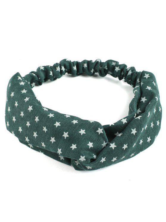trendy Vintage Star Printed Elastic Hair Band - GREEN