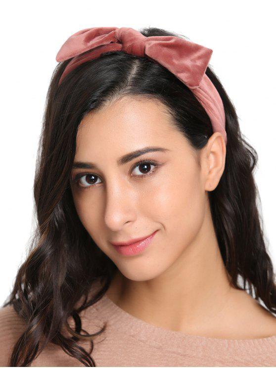 Fascia per capelli elastica in velluto con fiocchi vintage - Rosa
