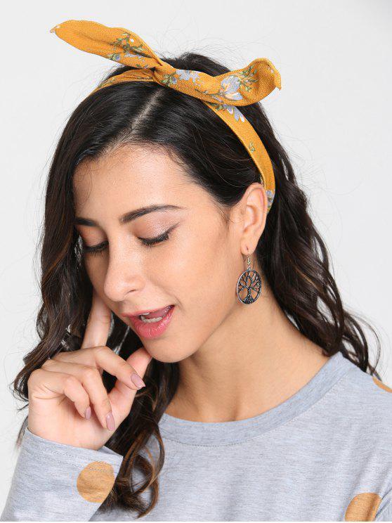 Vintage Blumendruck Stirnband - Gelb