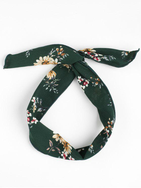 outfit Vintage Flower Print Headband - BLACKISH GREEN