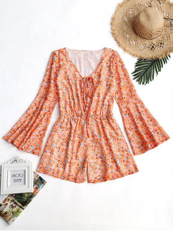 fancy Flare Sleeve Lace Up Floral Romper - ORANGE L